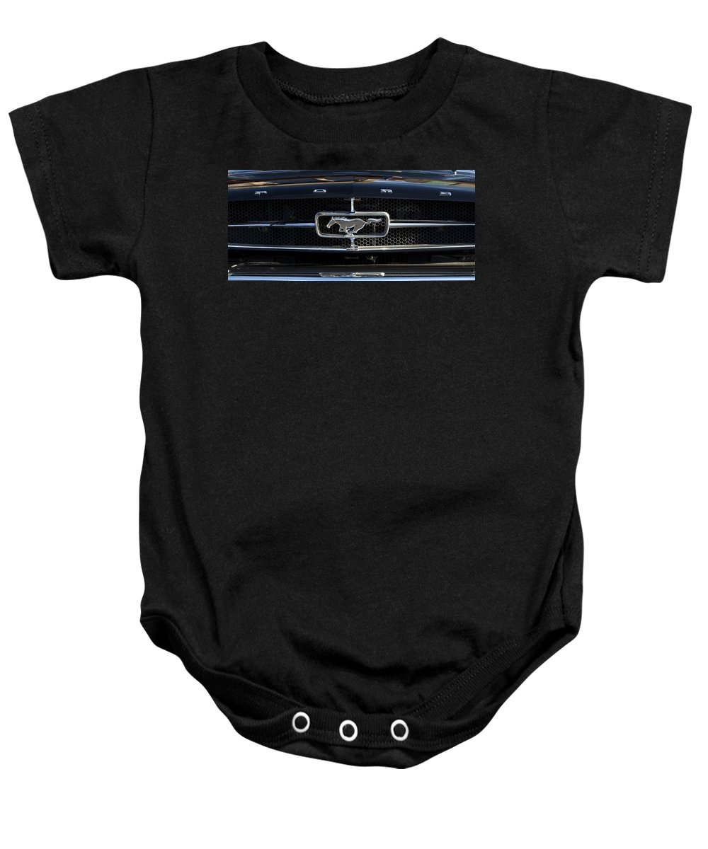 1965 Shelby Prototype Ford Mustang Emblem 1965 Ford Mustang Emblem Baby Onesie featuring the photograph 1965 Shelby Prototype Ford Mustang Hood Ornament by Jill Reger