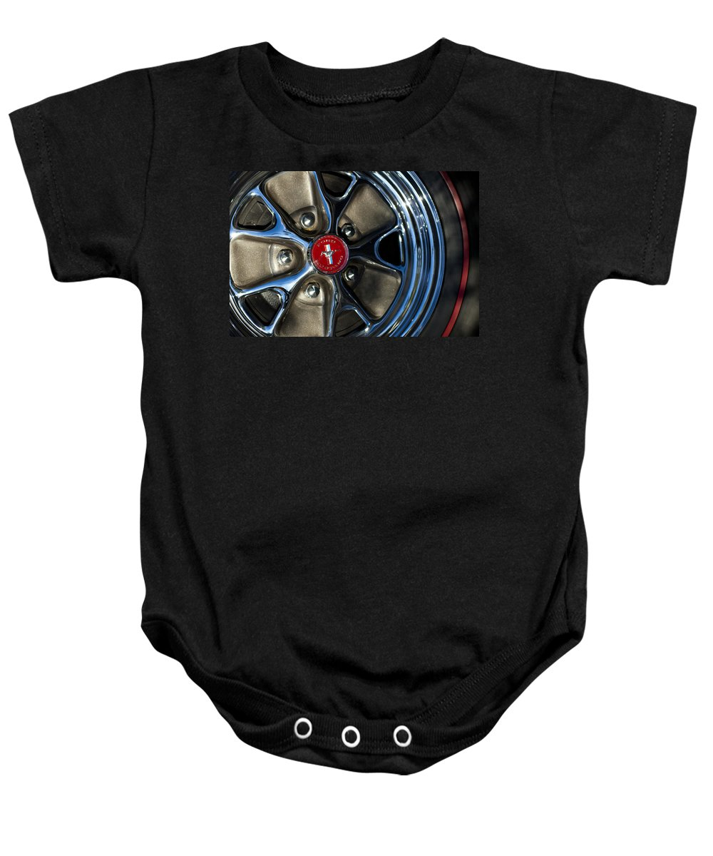 1965 Shelby Prototype Ford Mustang Baby Onesie featuring the photograph 1965 Shelby Prototype Ford Mustang Wheel by Jill Reger