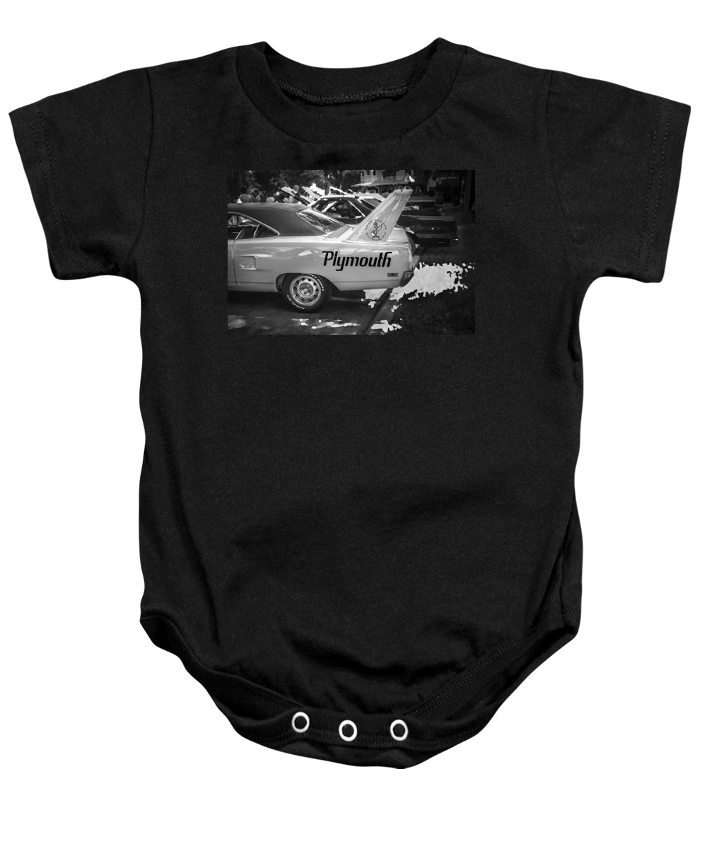 1970 Plymouth Baby Onesie featuring the photograph 1970 Plymouth Road Runner Hemi Super Bird Bw by Rich Franco