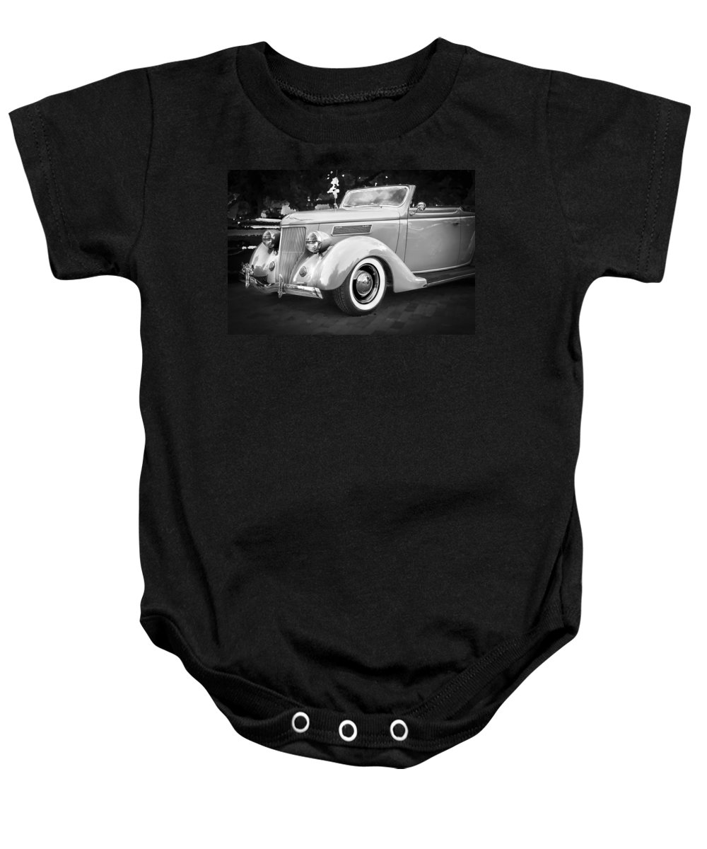 1936 Ford Baby Onesie featuring the photograph 1936 Ford Cabriolet Bw by Rich Franco