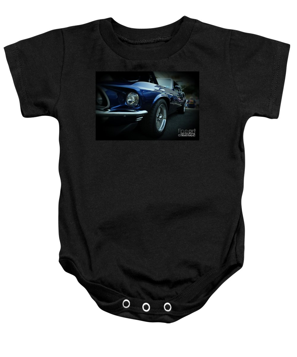 Blue Mustang Baby Onesie featuring the photograph 1969 Ford Mustang Mach 1 Fastback by Paul Ward
