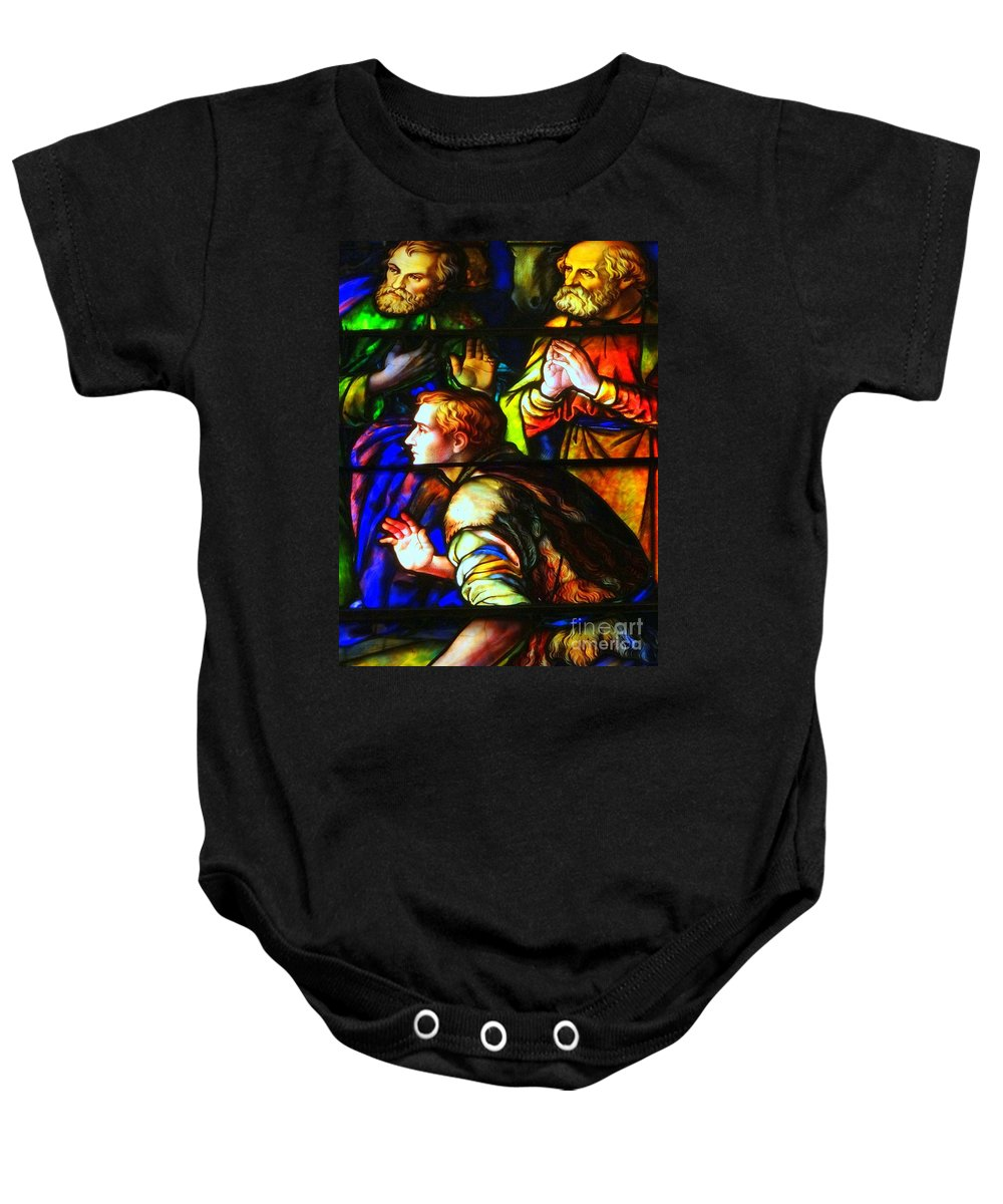 Stained Glass Baby Onesie featuring the photograph 3 Men by Ed Weidman