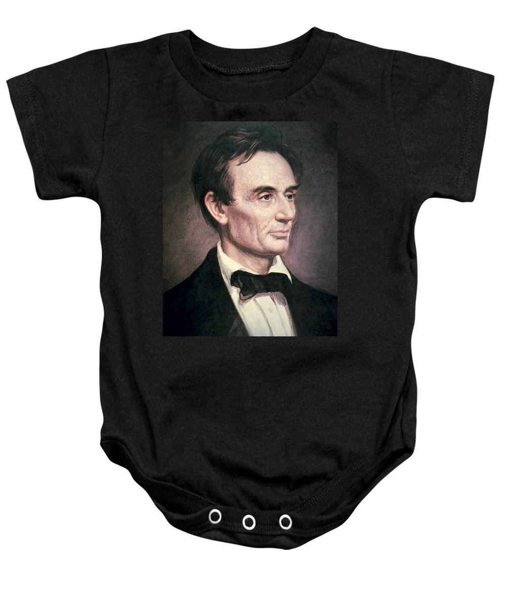 Statesman Baby Onesie featuring the painting Abraham Lincoln by George Peter Alexander Healy