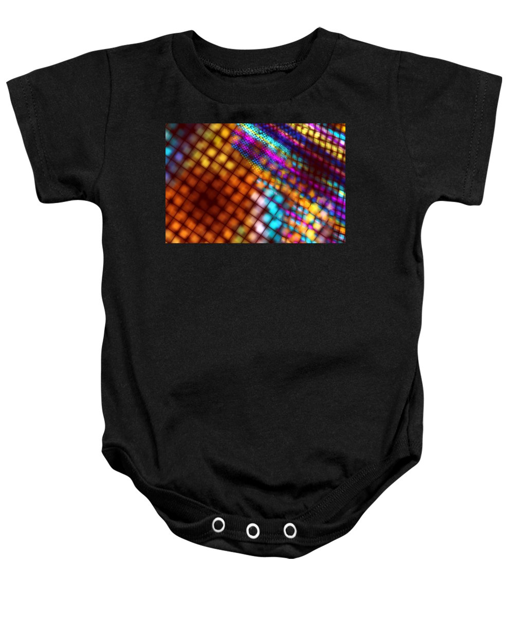 Design Baby Onesie featuring the photograph Abstract Checkered Pattern Fractal Flame by Keith Webber Jr
