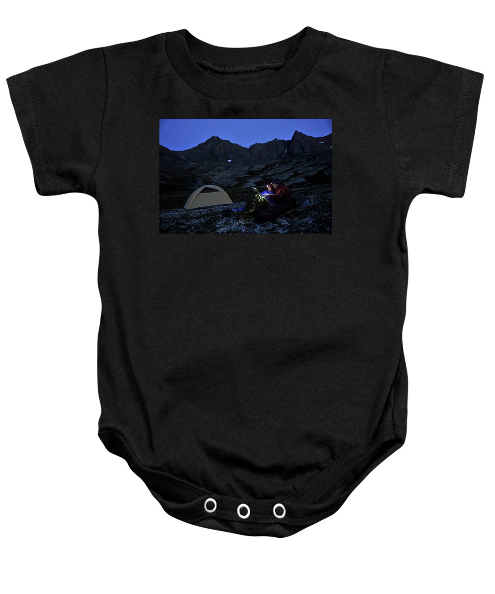 Camping Baby Onesie featuring the photograph Backpacking Alaska Chugach Mountains by HagePhoto