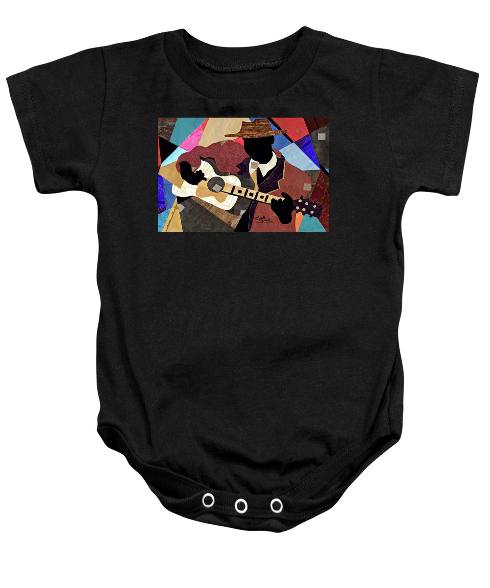 Collage Baby Onesie featuring the painting Blues Boy by Everett Spruill