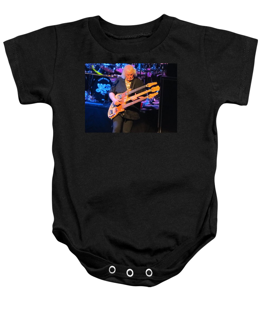 Chris Squire Of Yes Baby Onesie featuring the photograph Chris Squire Of Yes by Donna Wilson