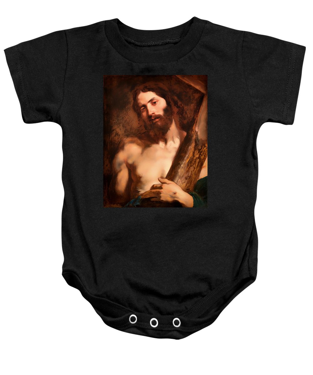 Painting Baby Onesie featuring the painting Christ Carrying The Cross by Mountain Dreams