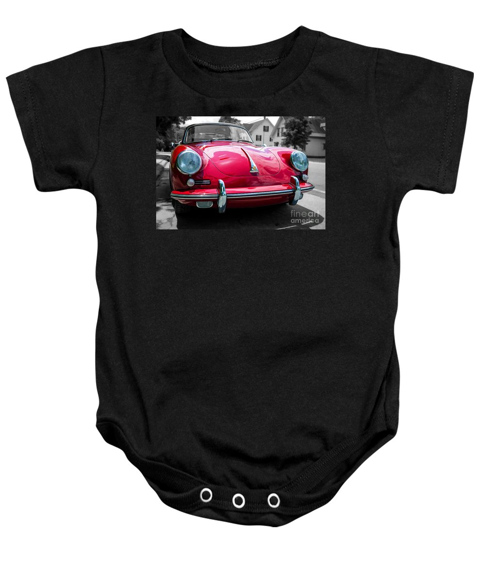 Porsche Baby Onesie featuring the photograph Classic Red P Sports Car by Edward Fielding