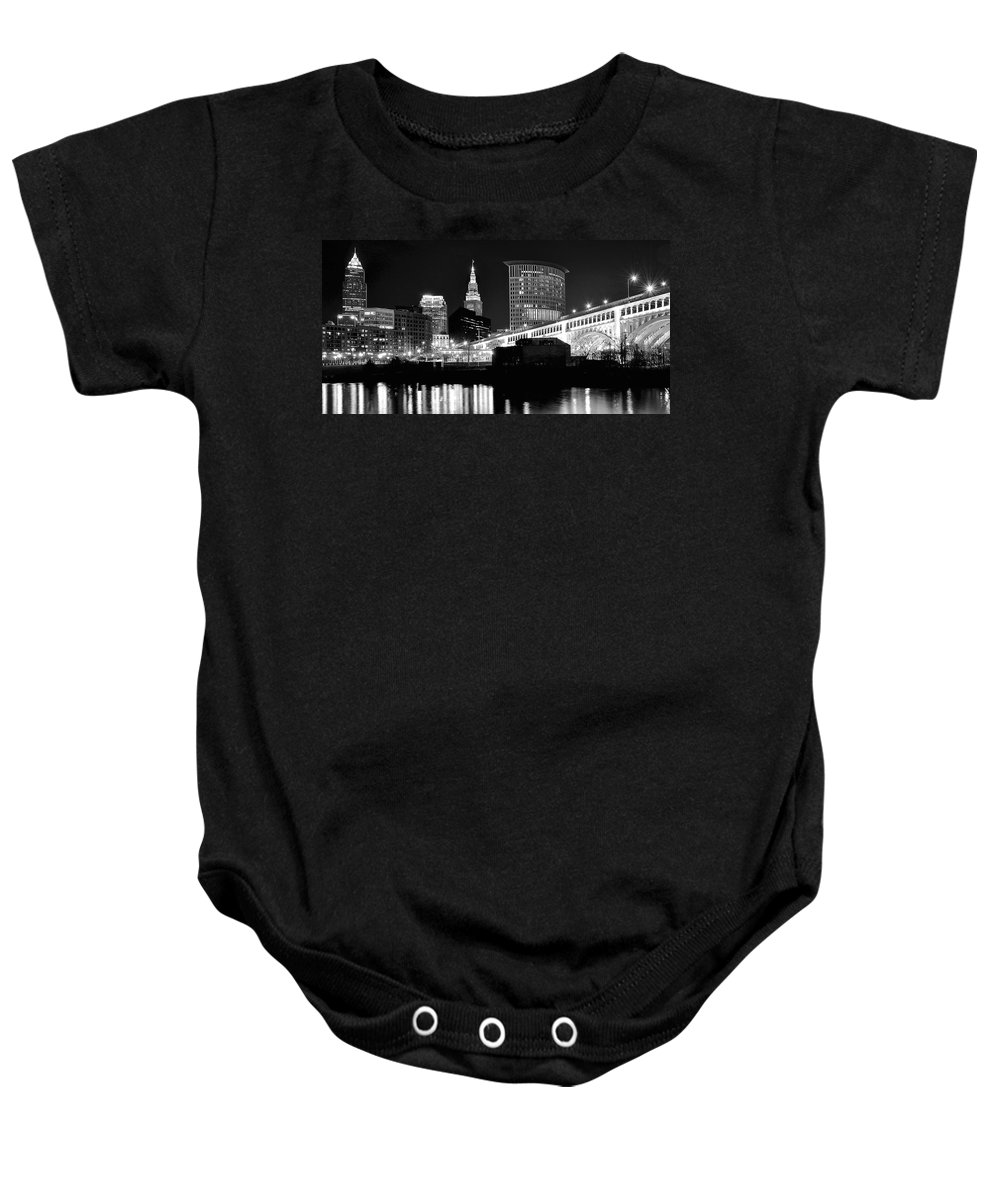 Cleveland Baby Onesie featuring the photograph Cleveland Skyline by Frozen in Time Fine Art Photography