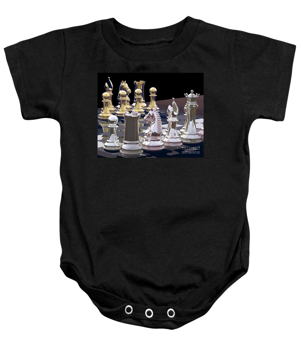 Chess Baby Onesie featuring the photograph Competition - Chess by Lori Lejeune