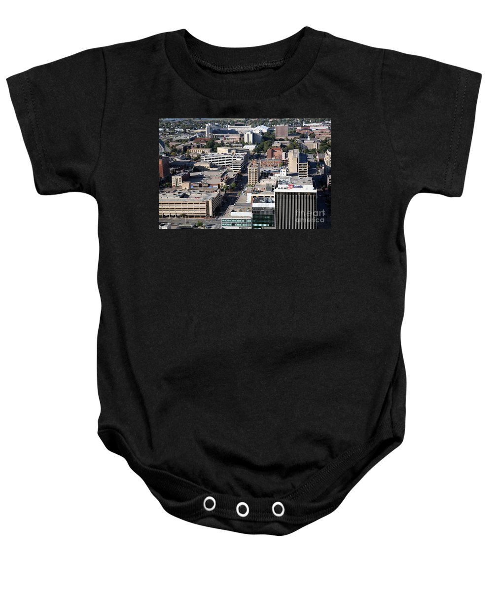 Aerial Baby Onesie featuring the photograph Downtown Lincoln by Bill Cobb