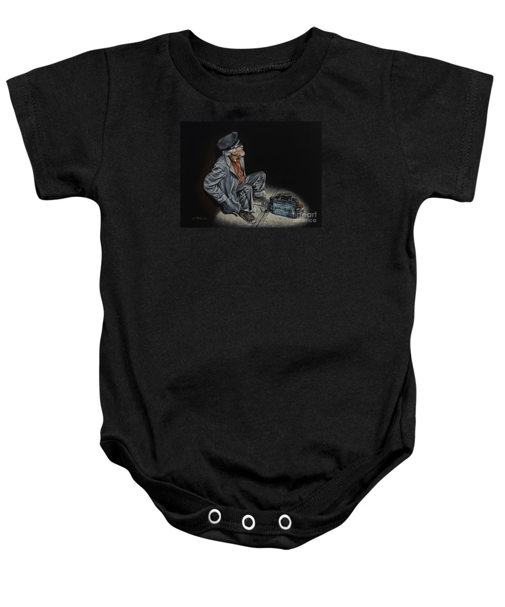 Shoeshiner Baby Onesie featuring the painting Empty Pockets by Ricardo Chavez-Mendez