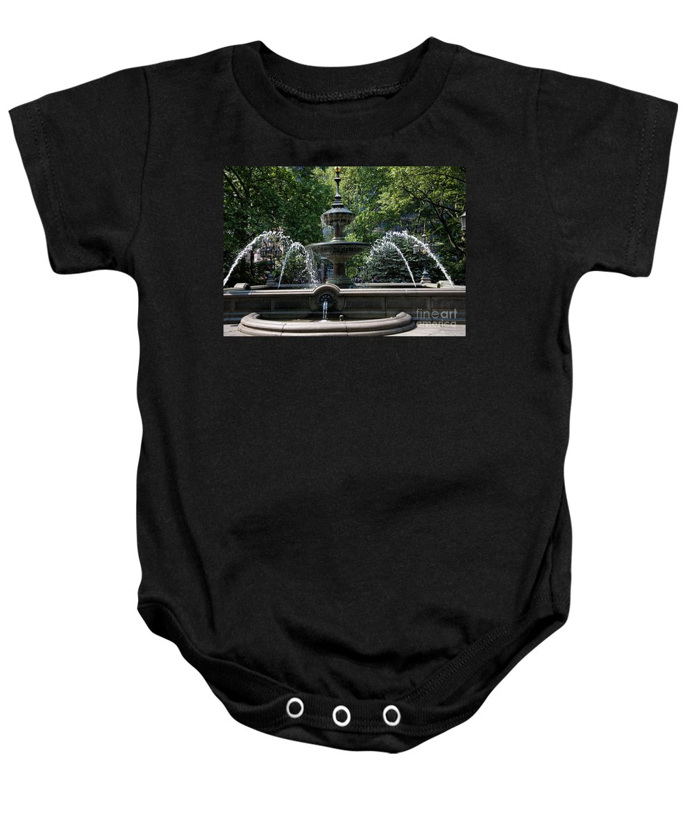 Downtown Baby Onesie featuring the digital art Fountain by Carol Ailles