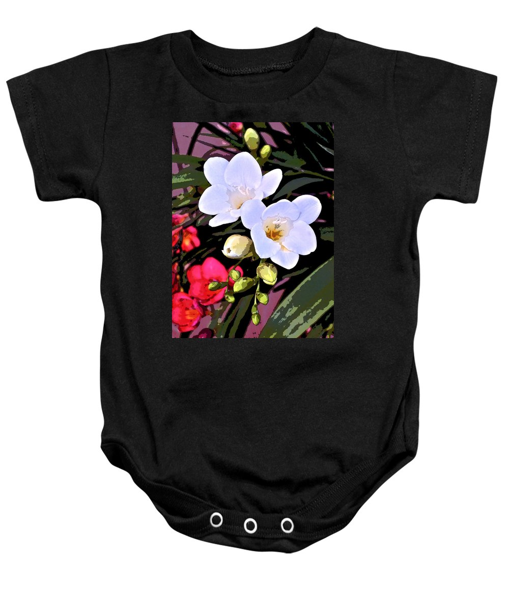 Floral Baby Onesie featuring the photograph Freesias 1 by Pamela Cooper