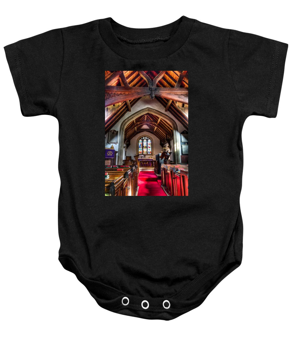 Greensted Church Baby Onesie featuring the photograph Greensted Church Ongar by David Pyatt