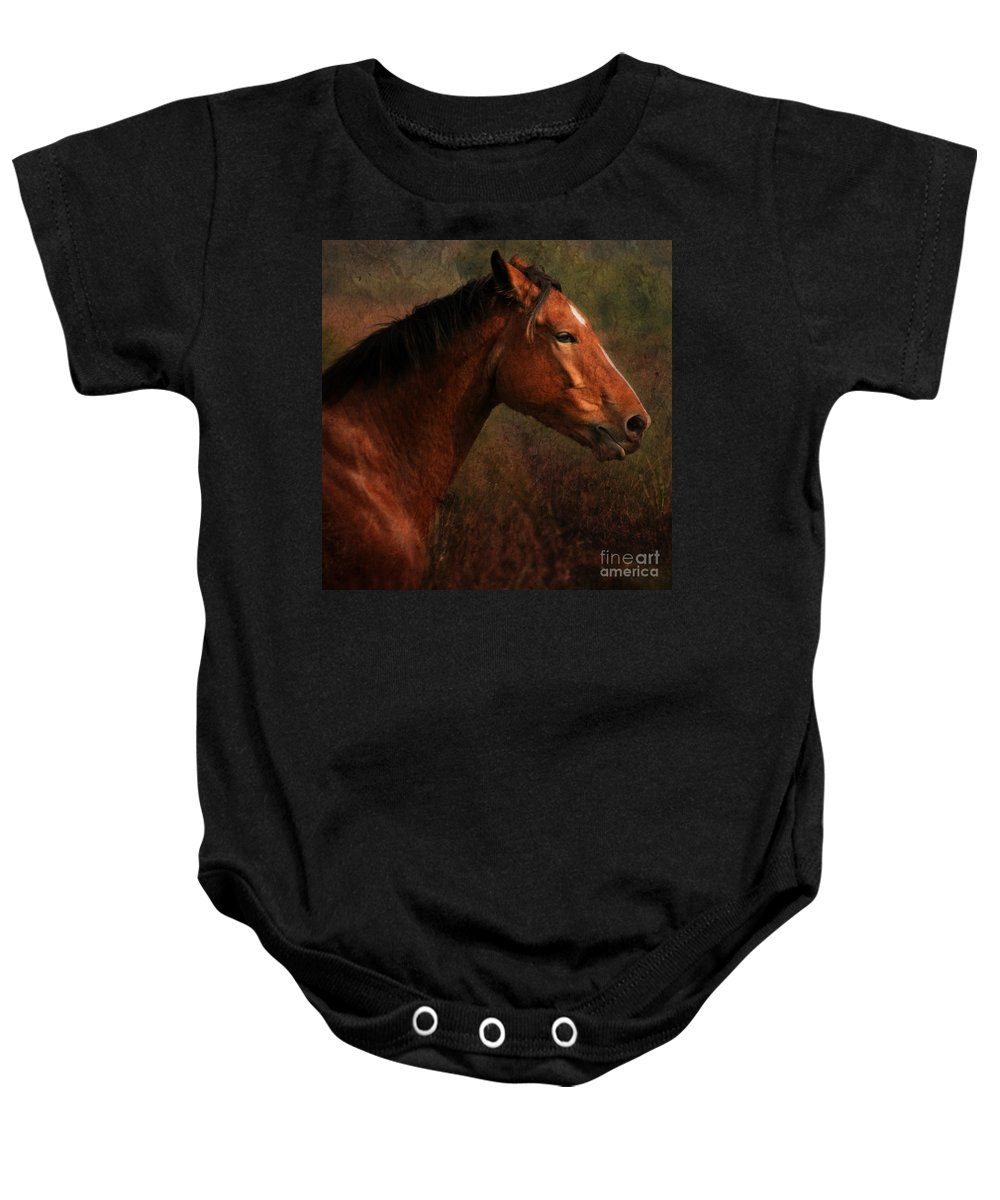 Horse Baby Onesie featuring the photograph Horse Portrait by Angel Ciesniarska