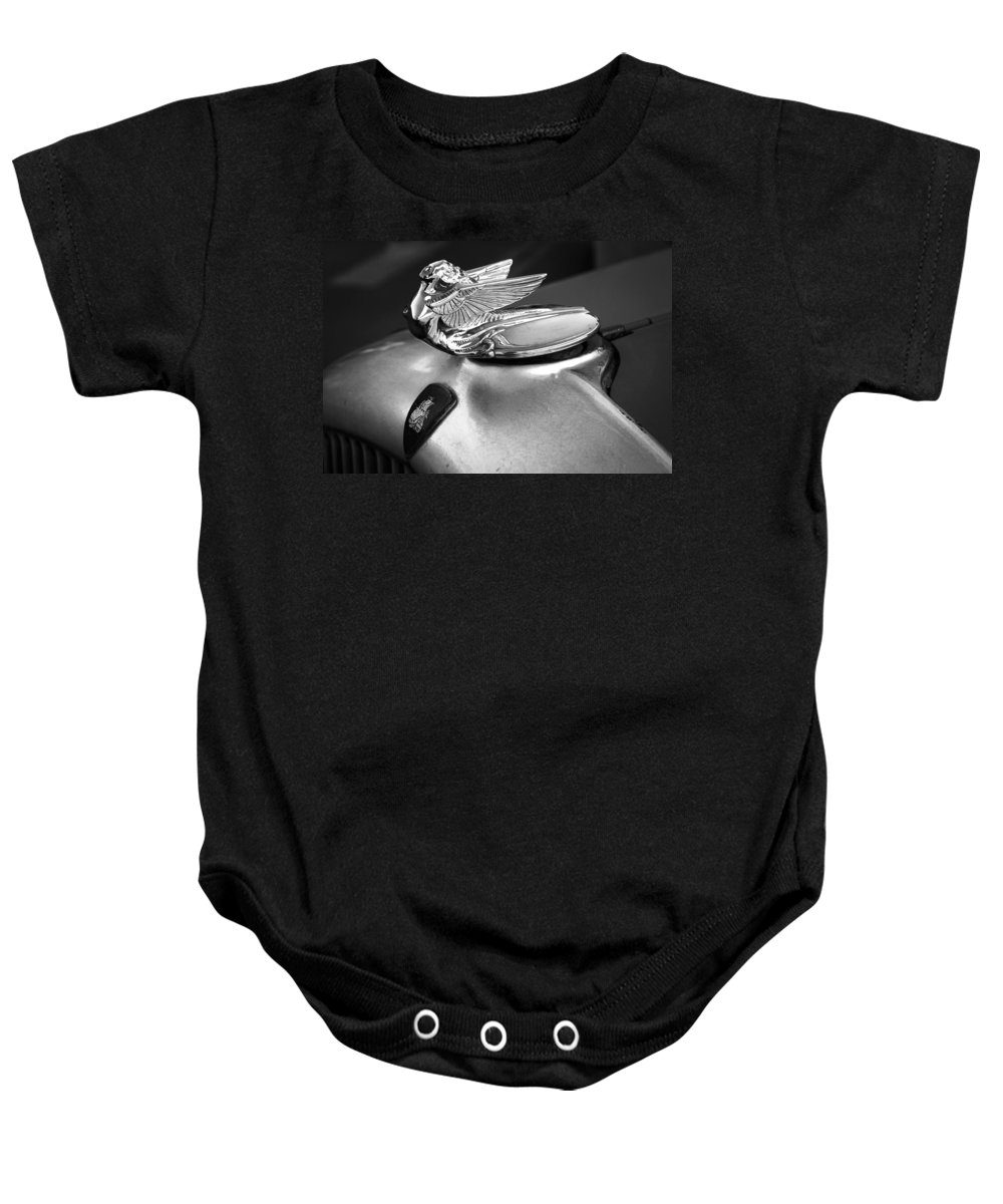 American Classic Cars Baby Onesie featuring the photograph Lady Of The Hood by Digital Kulprits