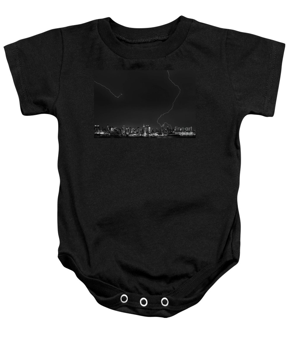 New York City Photographs Baby Onesie featuring the photograph Lightning Strikes The Big Apple by Jerry Fornarotto
