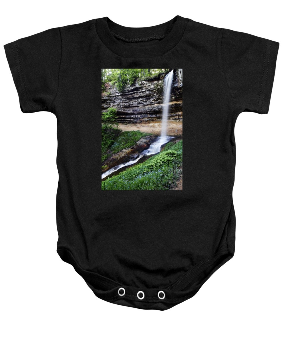 3scape Photos Baby Onesie featuring the photograph Munising Falls by Adam Romanowicz