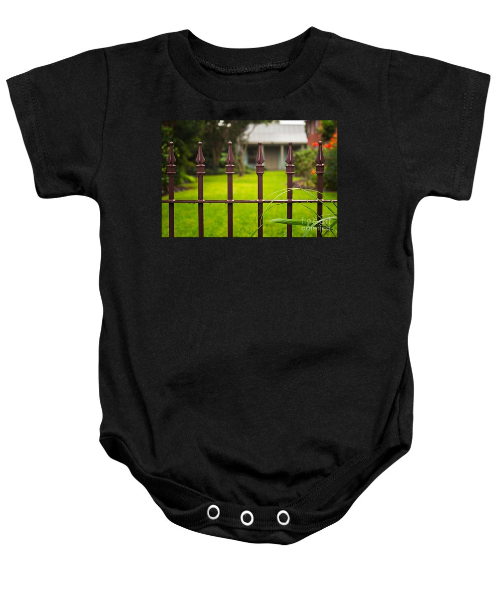 Cottage Baby Onesie featuring the photograph New Orleans Cottage by Mary Smyth
