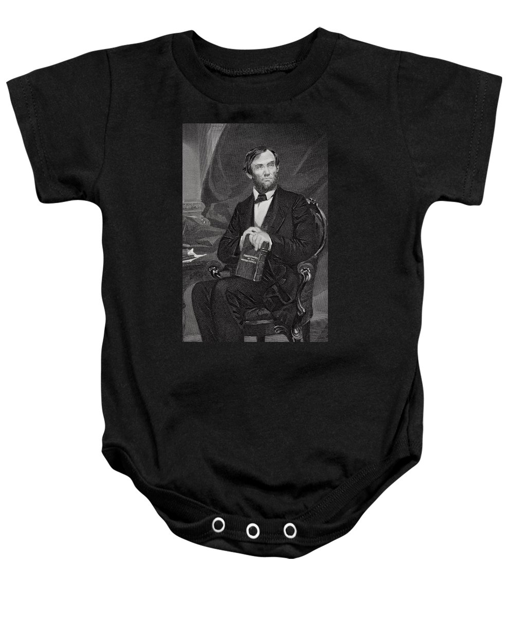 Male Baby Onesie featuring the painting Portrait Of Abraham Lincoln by Alonzo Chappel