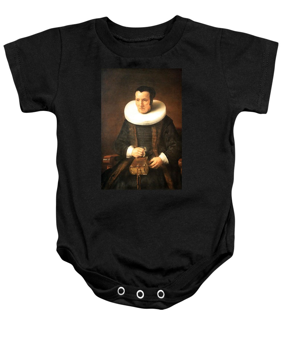 An Baby Onesie featuring the photograph Rembrandt's An Old Lady With A Book by Cora Wandel