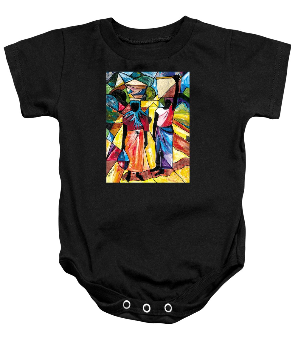 Everett Spruill Baby Onesie featuring the painting Road To The Market by Everett Spruill
