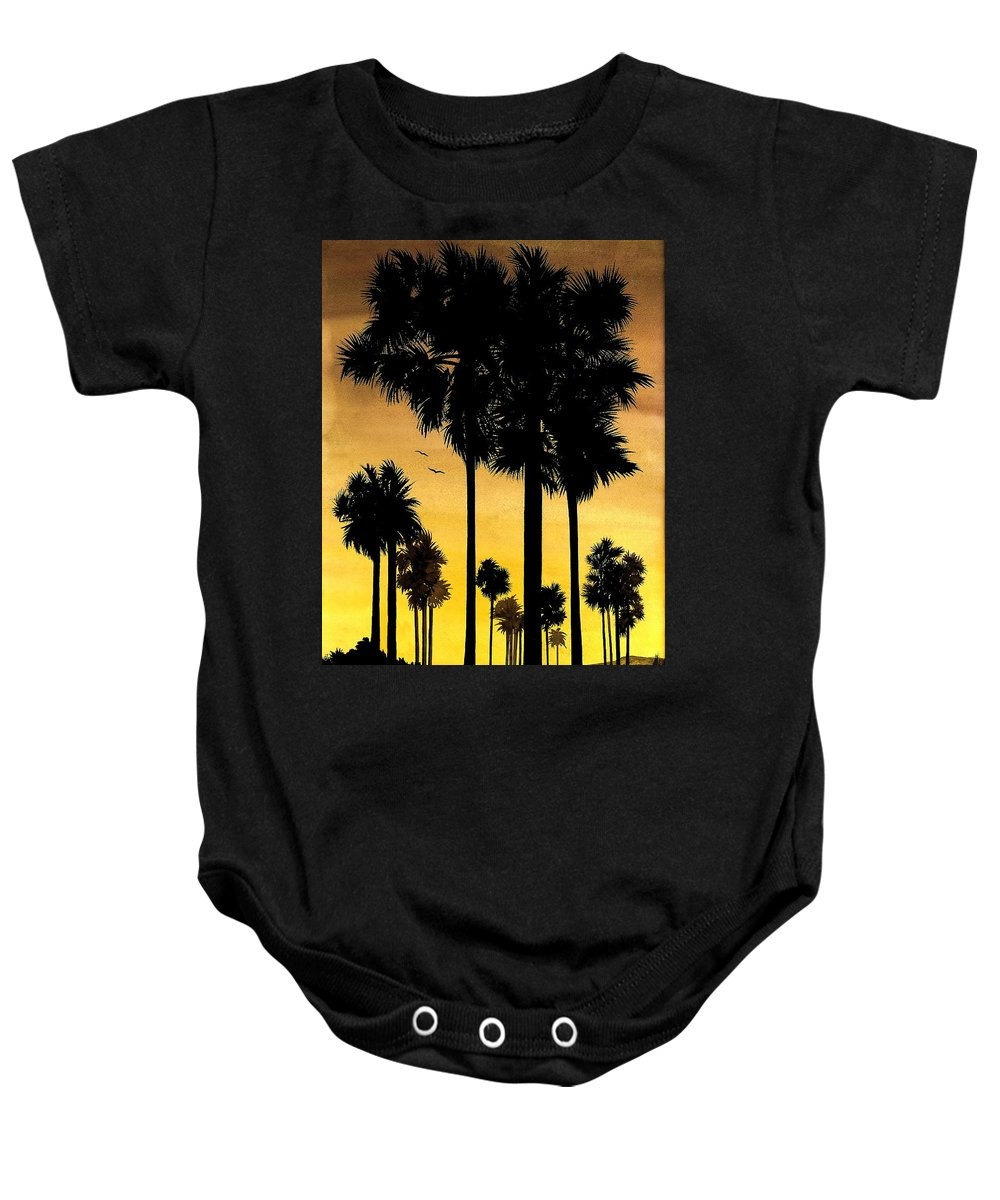 San Diego Sunset Baby Onesie featuring the painting San Diego Sunset by Larry Lehman