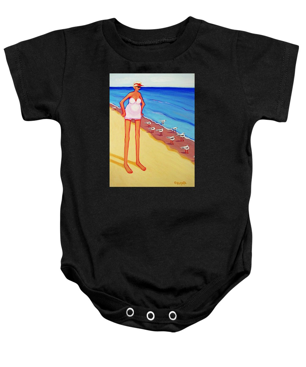 Whimsical Beach Baby Onesie featuring the painting Shorebirds Of A Feather by Rebecca Korpita