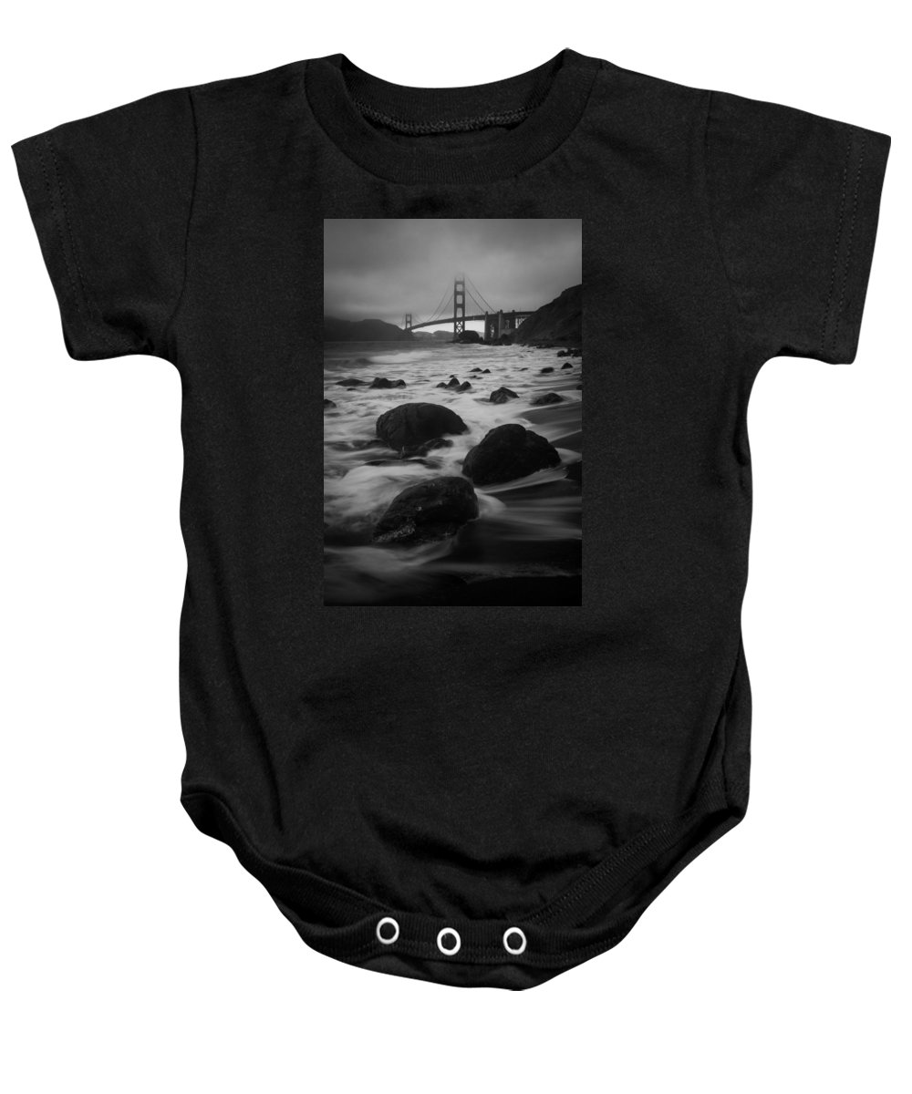 Golden Gate Baby Onesie featuring the photograph Silver Gate by Dayne Reast