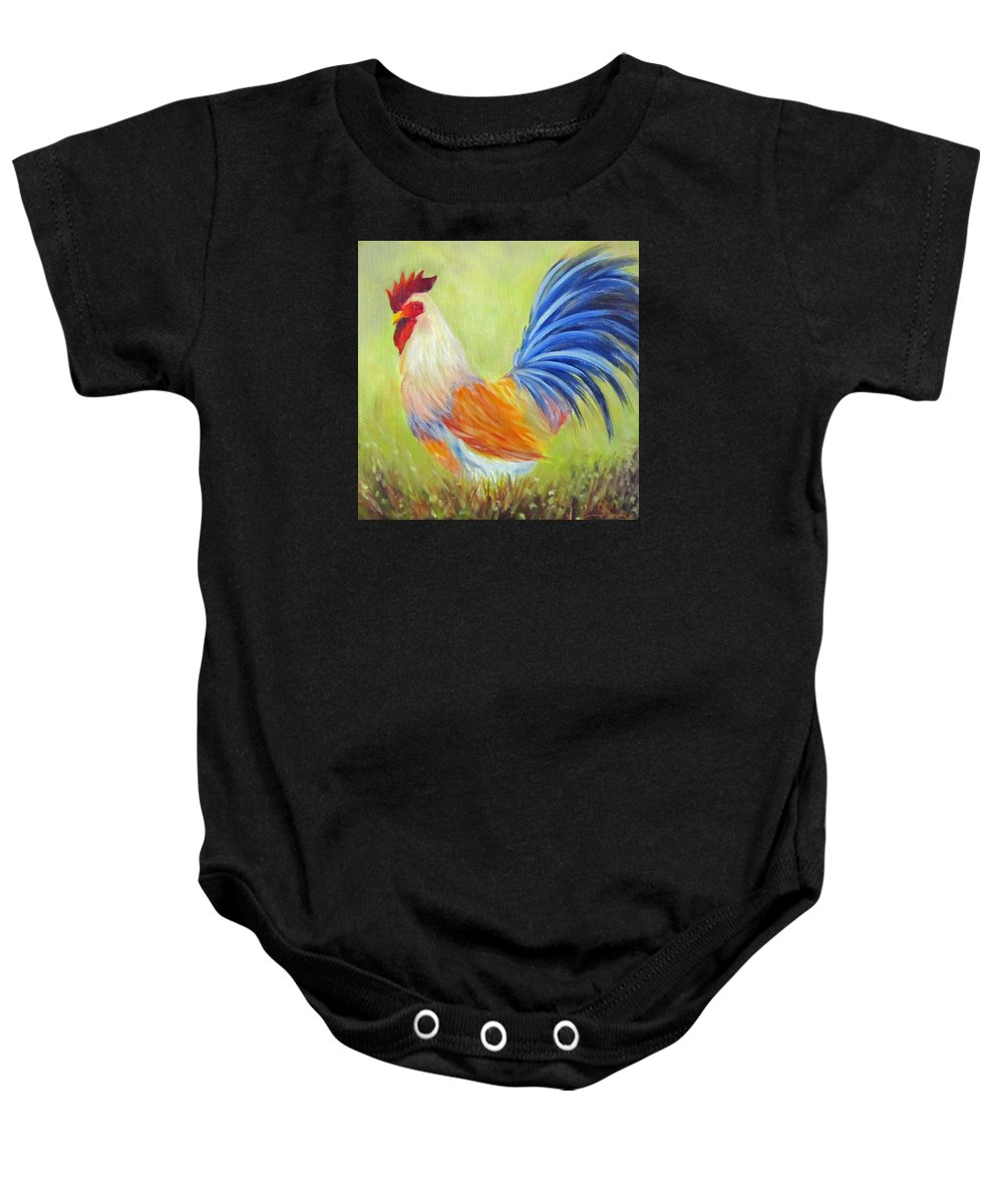 Rooster Baby Onesie featuring the painting Strutting My Stuff, Rooster by Sandra Reeves