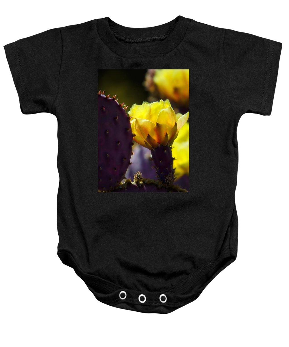 Prickly Pear Cactus Flower Baby Onesie featuring the photograph That Golden Glow by Saija Lehtonen