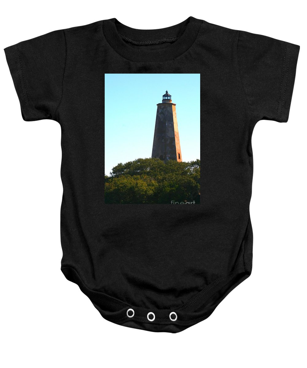 Lighthouse Baby Onesie featuring the photograph The Lighthouse by Nadine Rippelmeyer