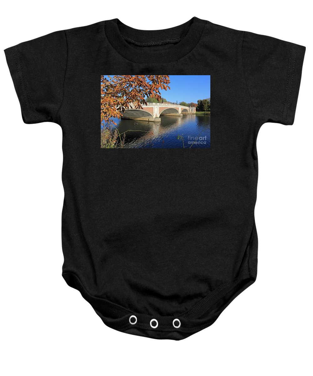 The River Thames At Hampton Court London Baby Onesie featuring the photograph The River Thames At Hampton Court London by Julia Gavin