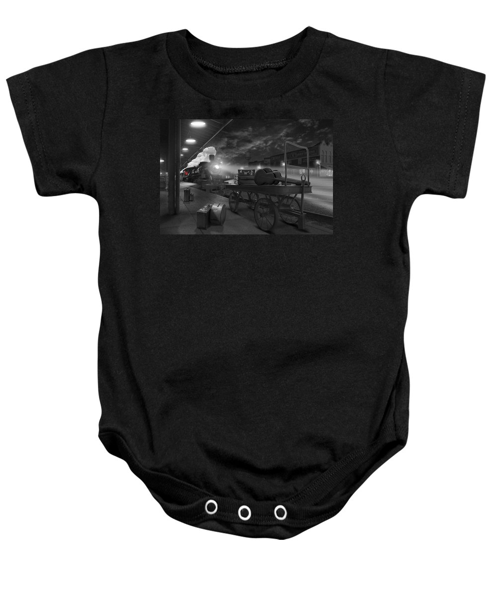 Transportation Baby Onesie featuring the photograph The Station by Mike McGlothlen