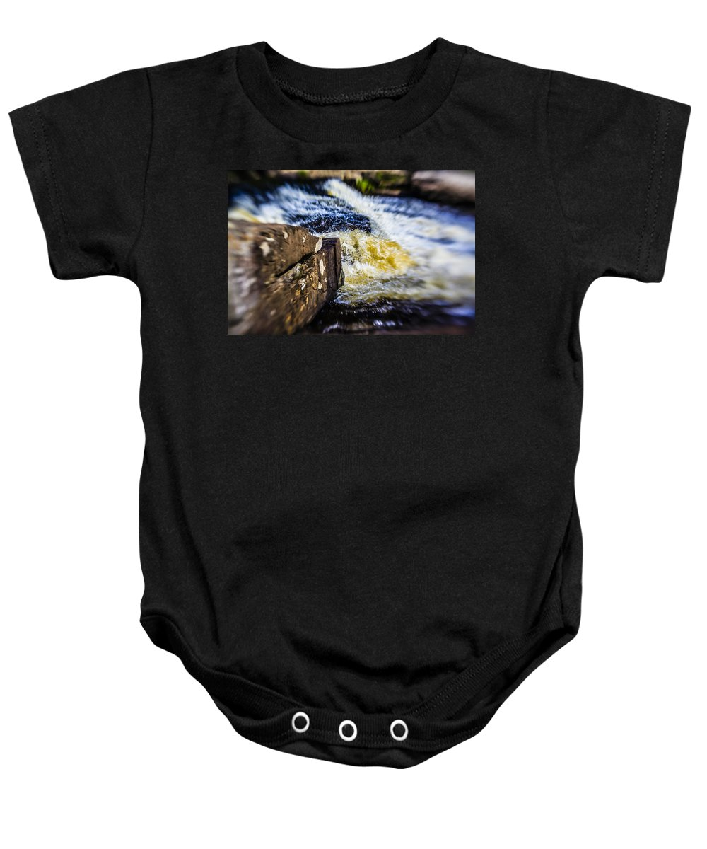 Stream Baby Onesie featuring the photograph The Stream In Mountain by Alex Potemkin