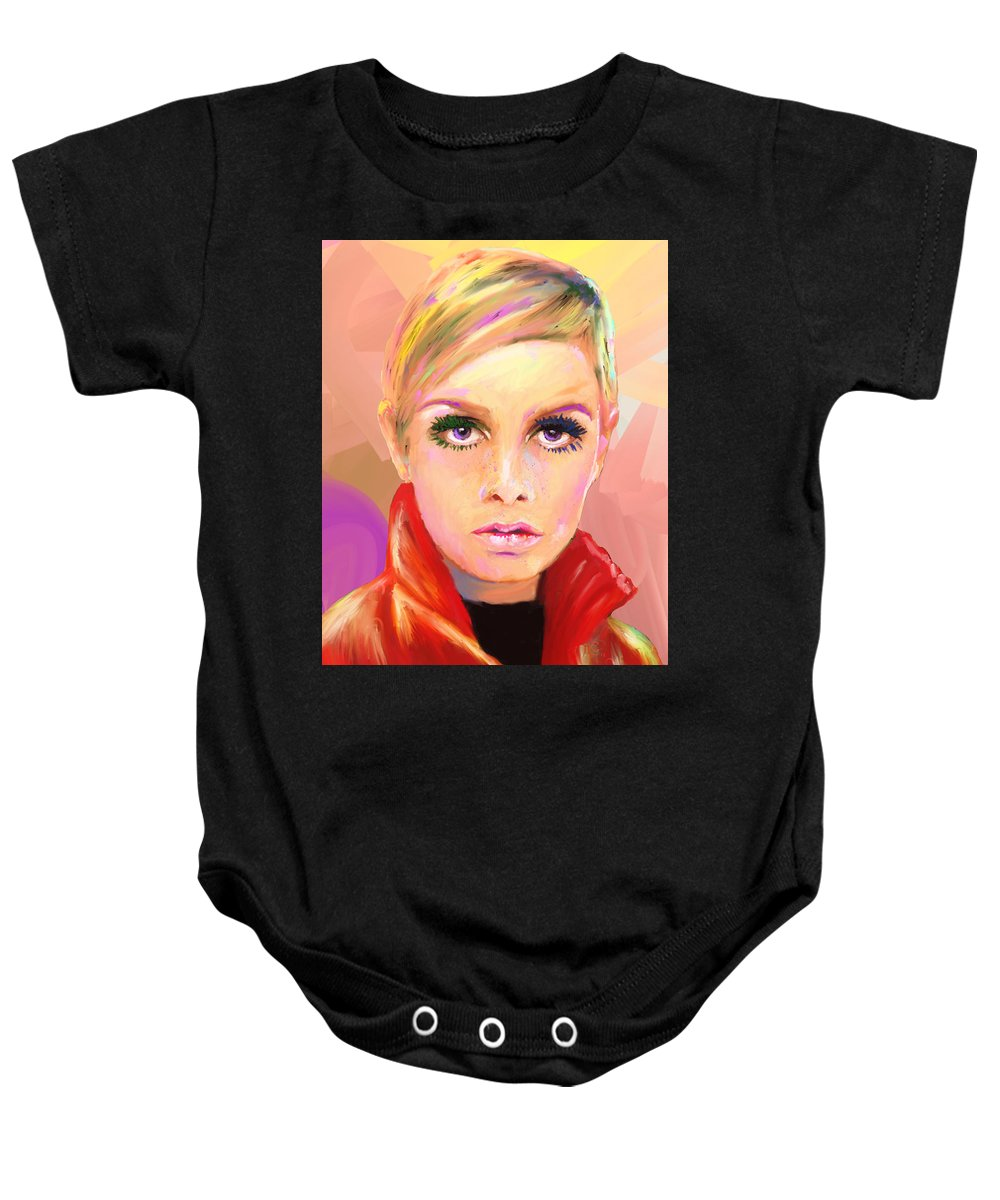 Twiggy Baby Onesie featuring the mixed media Twiggs by G Cannon