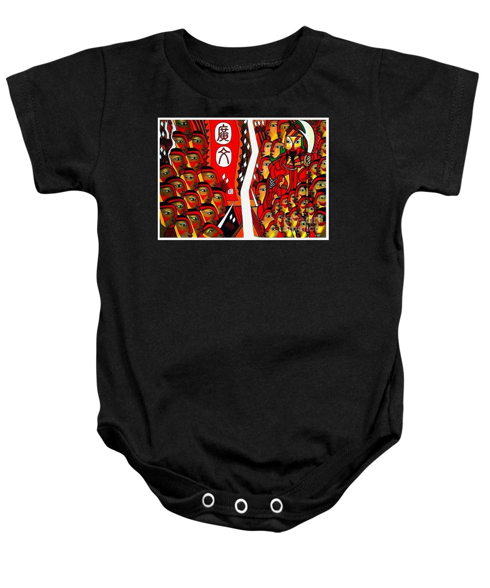 Figurative Paintings Baby Onesie featuring the painting Warriors by Fei A