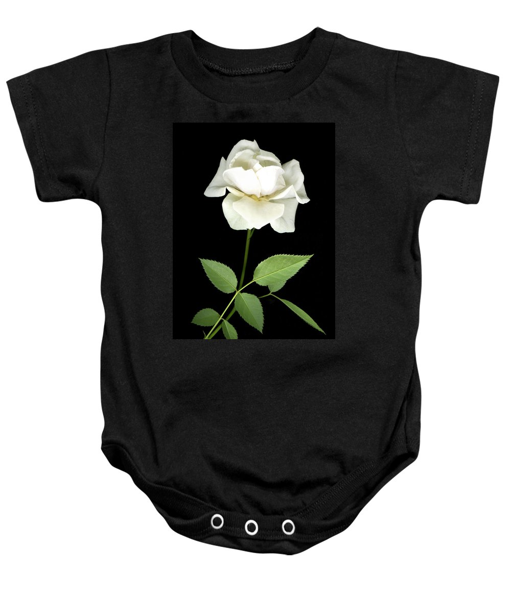 Roses Baby Onesie featuring the photograph White Rose by Jim Smith