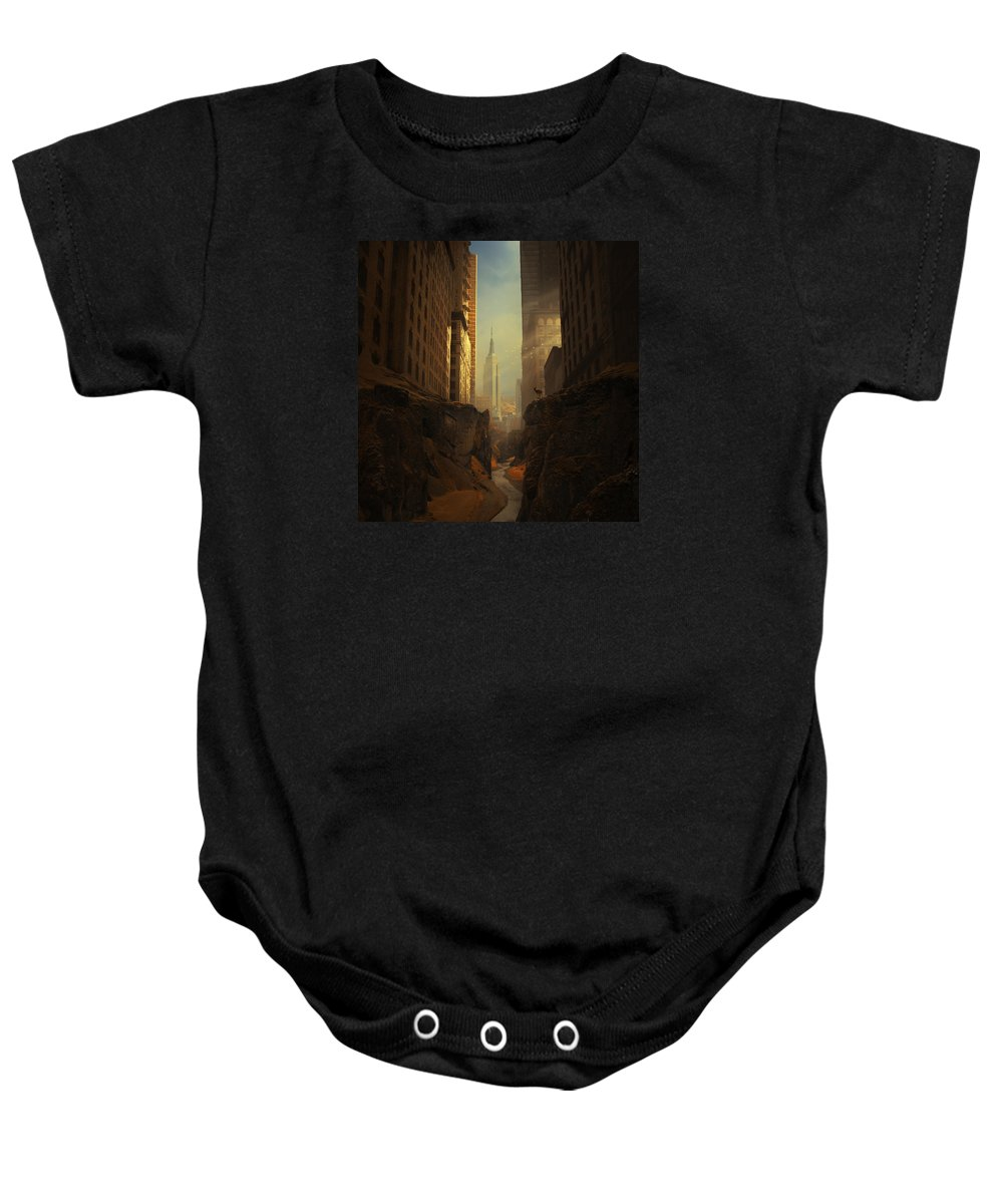 City Ruins Apocalypse Buildings Sun Animal Sunbeams Abandoned Ny Landscape Photomontage Rocks Loneliness Creek Walls Birds Sciencefiction Fantasy Newyork Warm Shadows Nature Architecture Photomontage Photomanipulation Baby Onesie featuring the photograph 2146 by Michal Karcz
