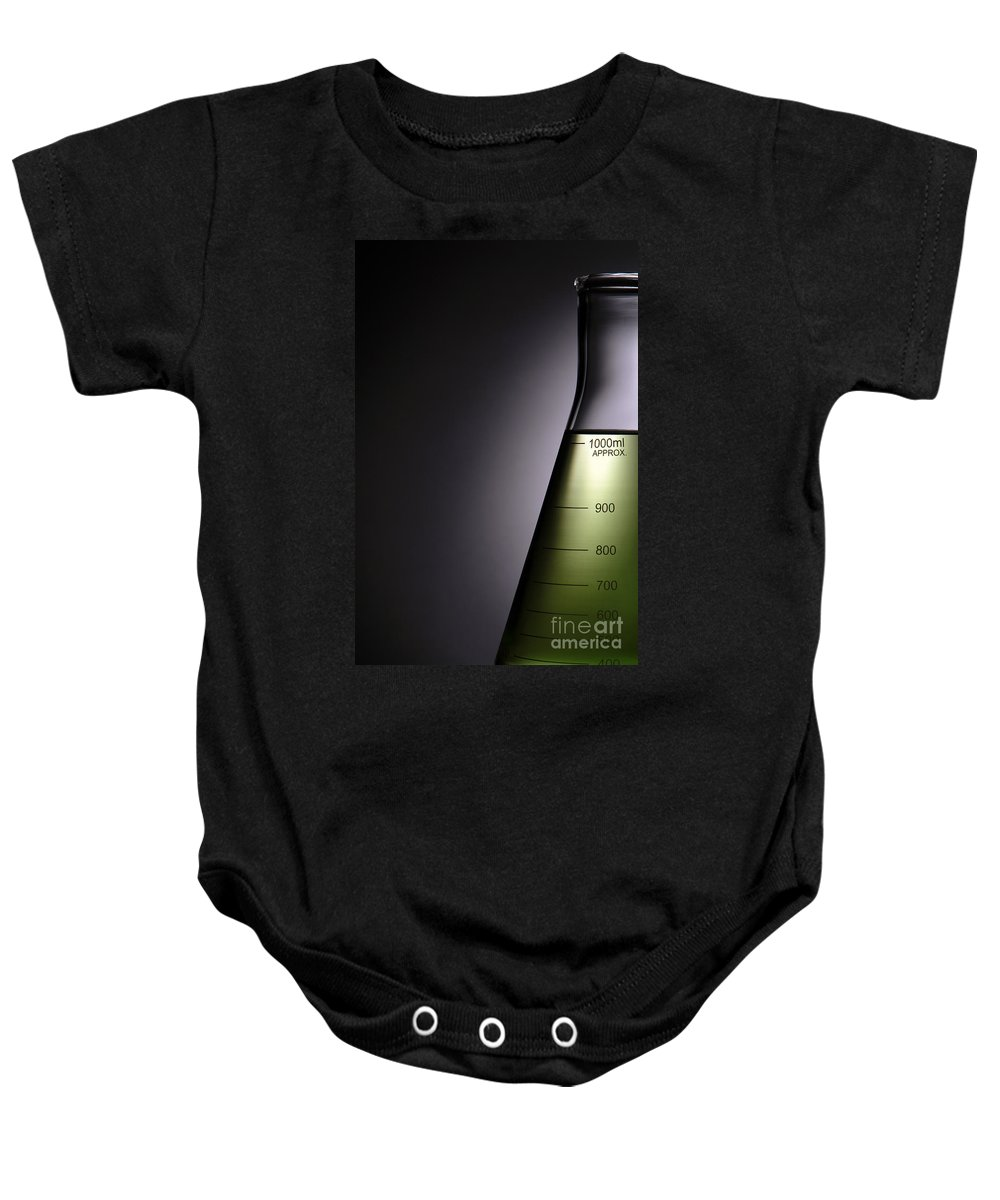 Flask Baby Onesie featuring the photograph Laboratory Equipment In Science Research Lab by Science Research Lab By Olivier Le Queinec