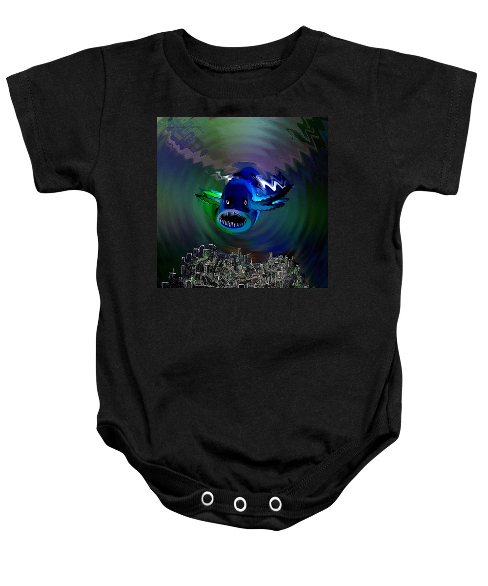 Atlantis Baby Onesie featuring the digital art 278 -  The Custodian Of Atlantis by Irmgard Schoendorf Welch