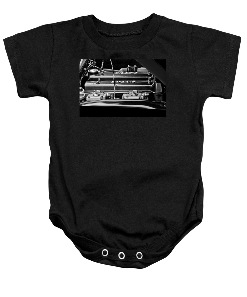 1965 Lotus Elan S2 Engine Baby Onesie featuring the photograph 1965 Lotus Elan S2 Engine by Jill Reger