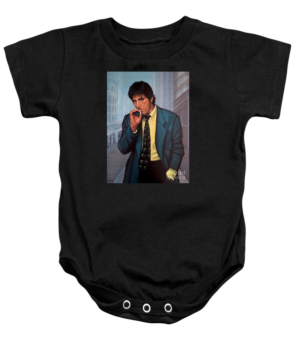 Al Pacino Baby Onesie featuring the painting Al Pacino 2 by Paul Meijering
