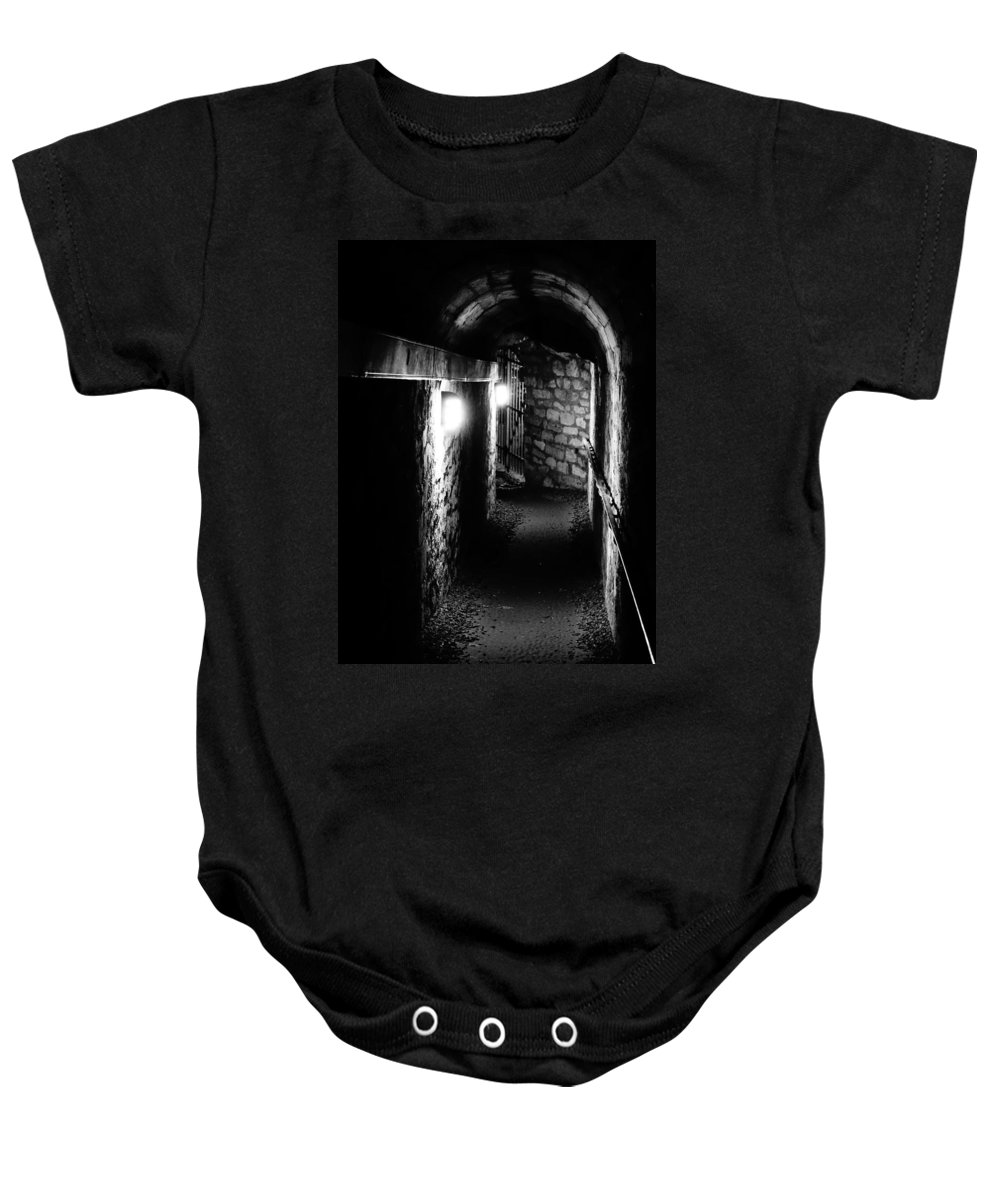 Paris Baby Onesie featuring the photograph Altered Image Of The Catacomb Tunnels In Paris France by Richard Rosenshein