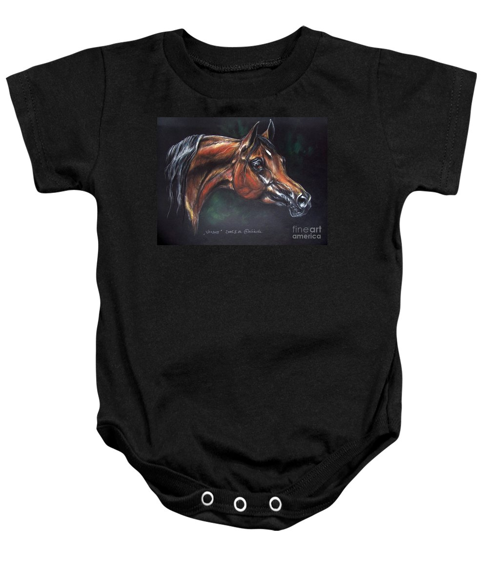 Horse Baby Onesie featuring the pastel Arabian Horse by Angel Ciesniarska