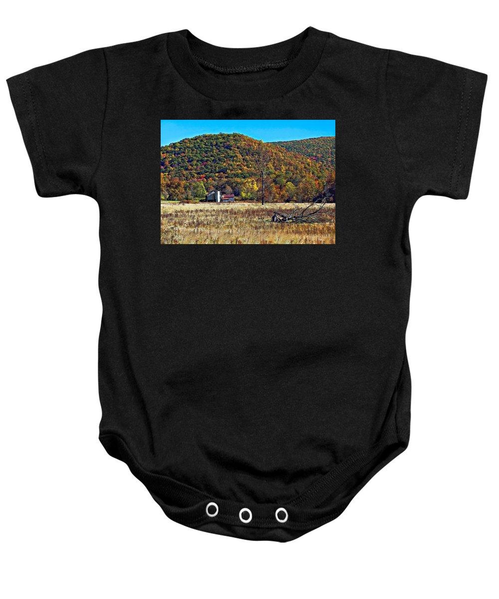 West Virginia Baby Onesie featuring the photograph Autumn Farm by Steve Harrington
