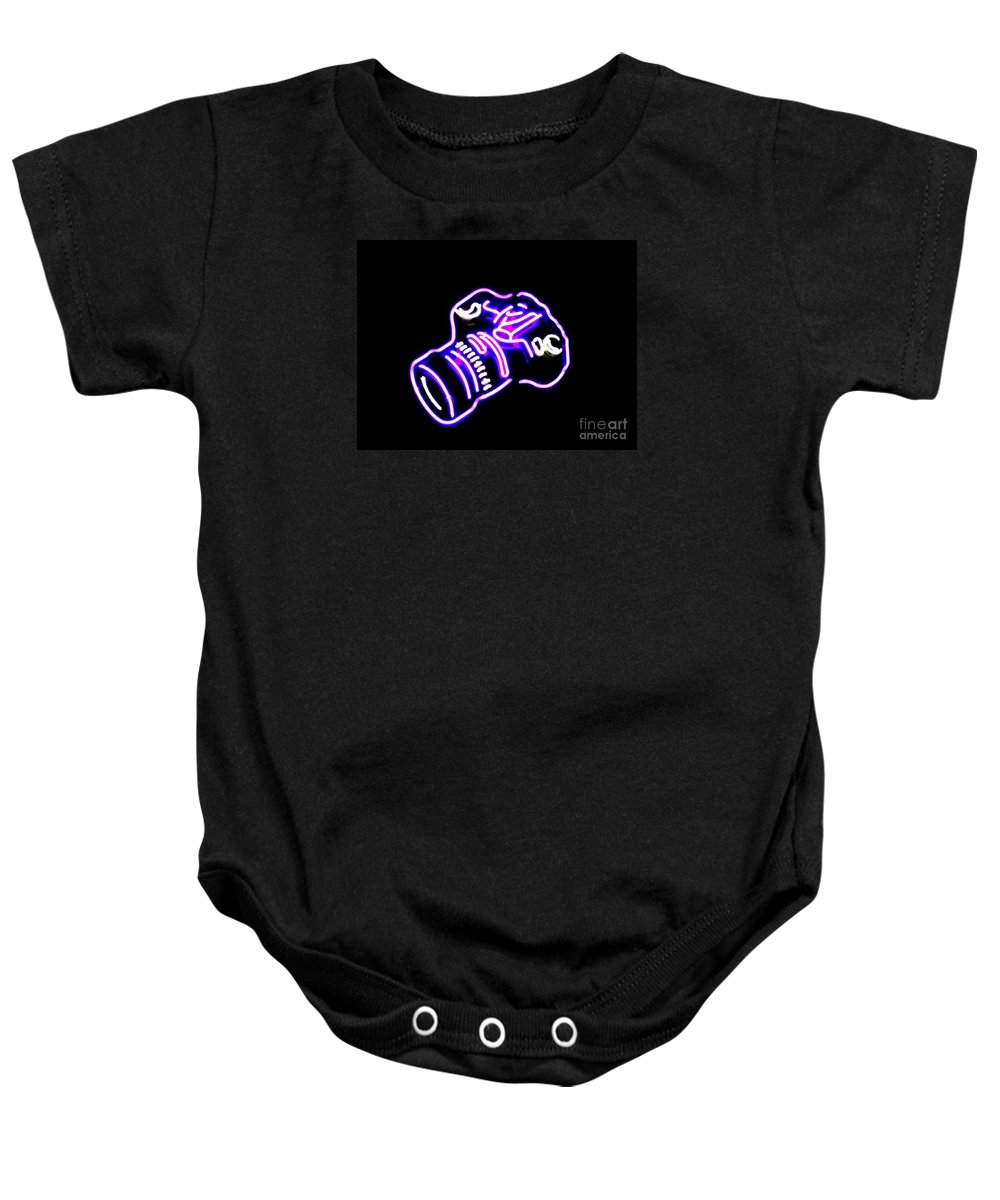 Baby Onesie featuring the photograph Camera Edited by Kelly Awad