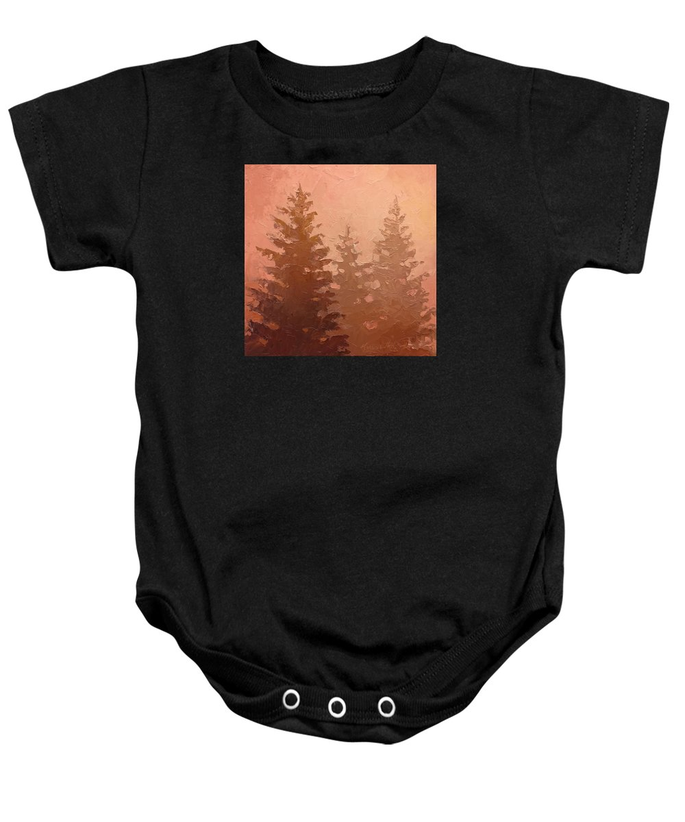 Tree Baby Onesie featuring the painting 3 Cedars In The Fog No. 1 by Karen Whitworth